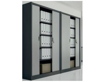 Office storage unit with tambour doors