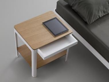 Table de nuit rectangulaire en acier et bois avec tiroirs PLANE | Table de nuit en acier et bois