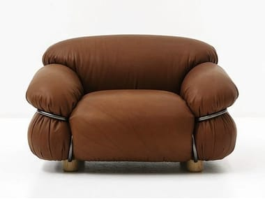 Upholstered leather armchair with armrests SESANN | Armchair