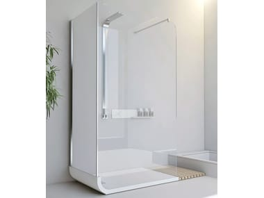 Free standing crystal shower cabin with tray CURVE F1 + F2