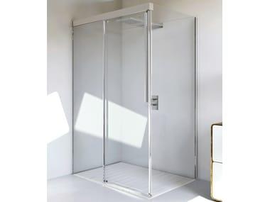 Cabina de ducha de esquina en aluminio y vidrio con puertas correderas MYRES SC1 + F