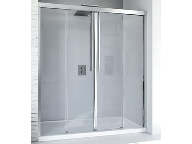 Niche glass and aluminium shower cabin with sliding door MYRES SC2