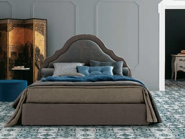 Fabric double bed with removable cover with upholstered headboard CELINE