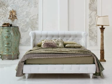 Leather double bed with tufted headboard GRAND HOTEL