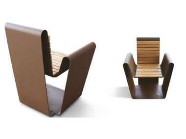 Seduta da esterni in acciaio Corten™ CLUB A-B | Seduta da esterni