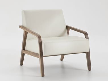 Upholstered leather armchair with armrests WOODY
