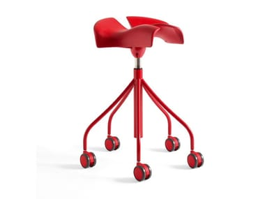 Trestle-based office stool with casters BINARIA