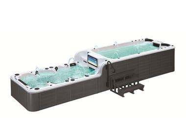 Minipiscina rectangular con nado contra corriente 12 asientos BL-859 | Minipiscina con nado contra corriente