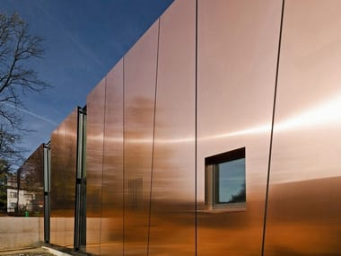 Metal sheet and panel for facade TECU® Bond