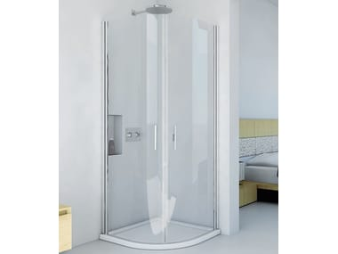 Semicircular glass and aluminium shower cabin with hinged door LIGHT RB
