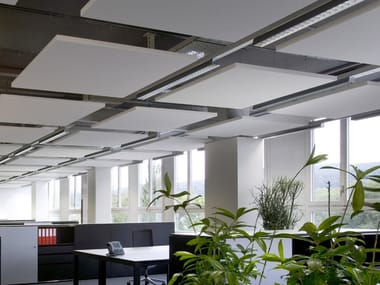 Glass wool acoustic ceiling clouds Ecophon Solo™ Square