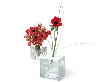 Glass and Stainless Steel vase ALIACTA