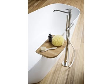 Floor standing stainless steel bathtub tap with hand shower BREZZA | Floor standing bathtub mixer