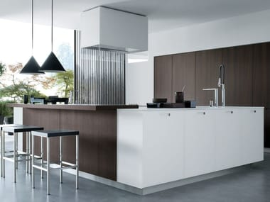 Lacquered linear wooden kitchen KYTON