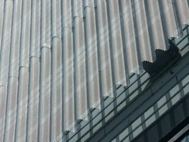 Stretched mesh for facade finish Continuous facade system