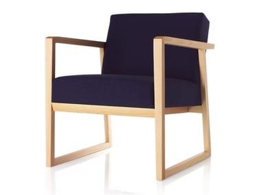 Beech armchair with armrests POD