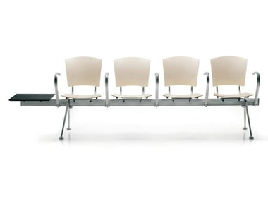 Steel and wood beam seating with armrests EINA | Beam seating