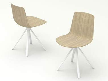 Trestle-based wooden chair SPIN   Wooden chair