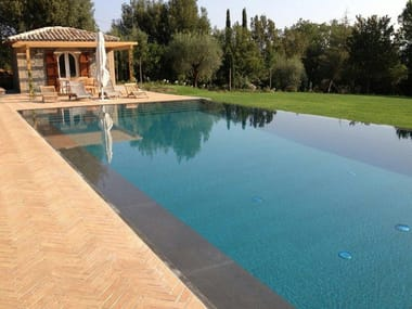 Infinity swimming pool with waterfall Infinity swimming pool