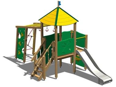 Structure ludique en acier inoxydable et bois TORRE FAINA INOX