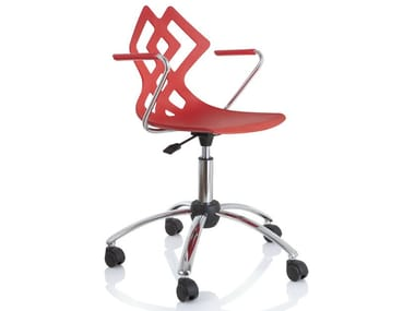 Swivel chair with 5-spoke base with armrests ZAHIRA | Chair with 5-spoke base