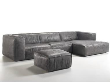 Sofá 3 lugares estofado de pele com chaise-longues FRANKI | Sofá com chaise-longues
