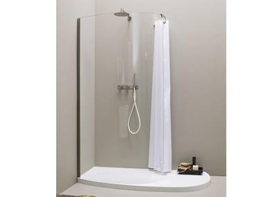 Parete per doccia in acciaio inox e vetro FONTE   Parete per doccia