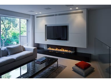 Contemporary style gas closed fireplace with remote control PANORAMA 130
