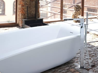 Floor standing bathtub mixer with hand shower LIBERA | Floor standing bathtub mixer
