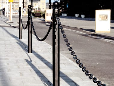 Cast iron bollard post with chains Cast iron bollard