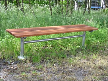 Backless steel and wood Bench CITY | Bench