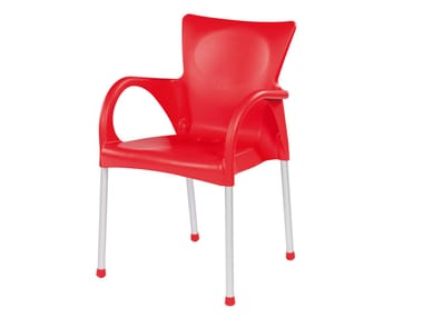 Chaise empilable en technopolymère avec accoudoirs BEVERLY
