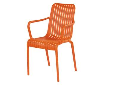 Chaise empilable en technopolymère avec accoudoirs OPEN