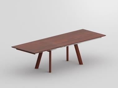 Extending rectangular solid wood table RHOMBI BUTTERFLY