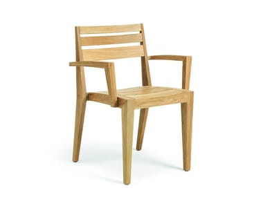 Teak garden chair with armrests RIBOT | Chair with armrests