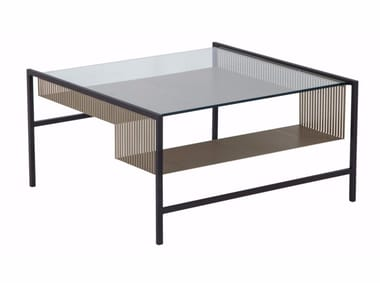 Square glass and steel coffee table AGRAFE | Square coffee table