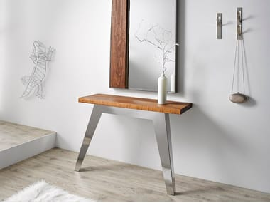Rectangular stainless steel and wood console table NORDIC | Console table