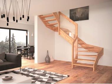 escalera abierta de madera visio