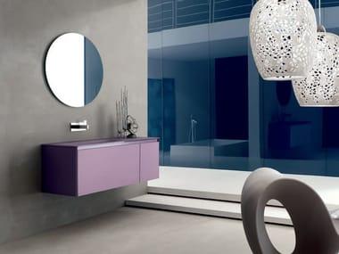 mueble bajo lavabo simple de vidrio arenado zero glass composition