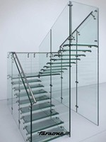 - Glass and Stainless Steel Open staircase MATHIS - FARAONE