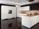 Linear lacquered kitchen AZ1 Crystal White Reed - Allmilmö