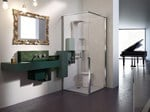 Wall-mounted steel vanity unit OSMOS | Vanity unit - Glass 1989