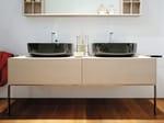 Freistehender doppel waschtischunterschrank aus holz mit schubladen compono system 180 linie - Doppel waschtischunterschrank ...
