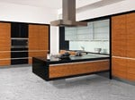 - Lacquered kitchen with island DE LUXE Zebrano - Allmilmö