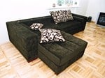 Design sectional upholstered velvet sofa with footstool MINO Design sofa - Resmita/Desforma line furniture