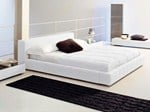 - Upholstered double bed with upholstered headboard SQUARING BASSO - Bonaldo