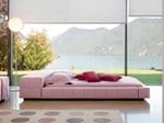 - Upholstered double bed with upholstered headboard SQUARING ISOLA ALTA - Bonaldo