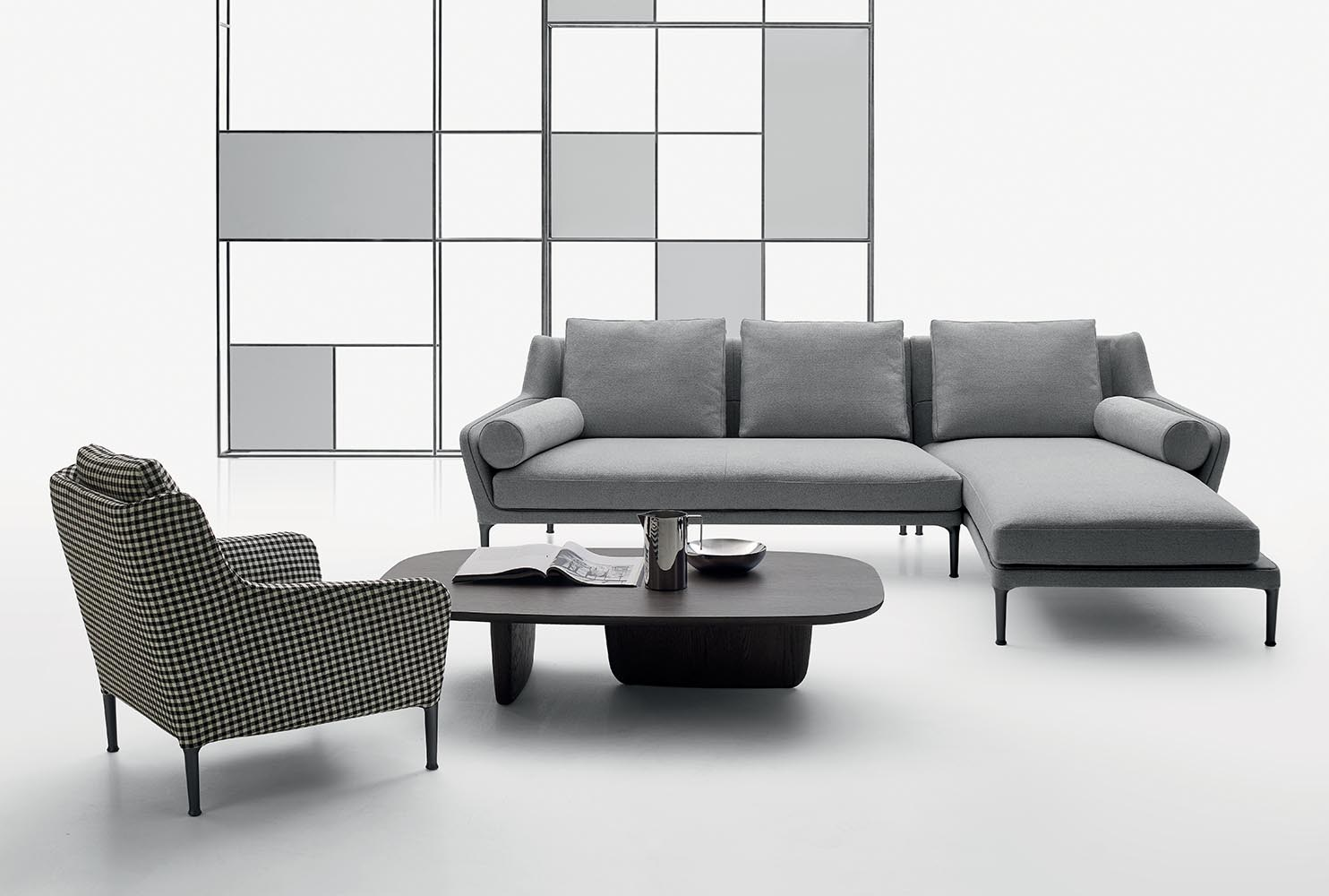 Douard sofa with chaise longue by b b italia design for B en b italia