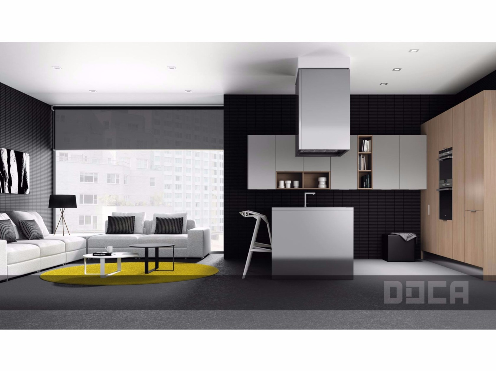 Fitted kitchen with island 2000 gris inox 2000 roble for Muebles de cocina doca
