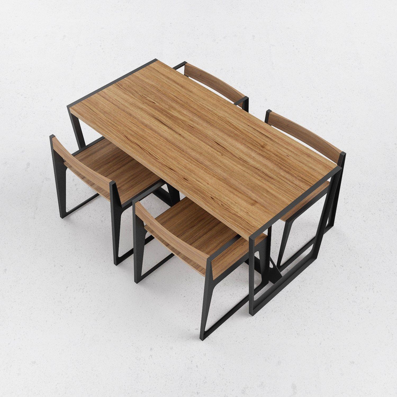 Tavolo in acciaio e legno a2 by odesd2 design george natriadi - Tavolo legno e acciaio ...